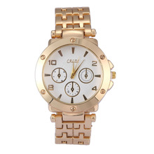 New Arrival Stainless Metal Golden Watch Ladies Informal Luxurious quart watch for girls relogio feminino