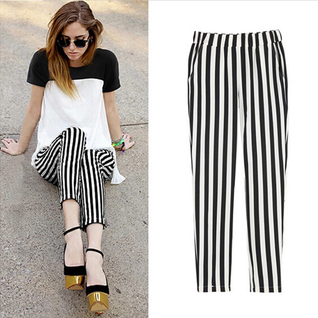 6a521604bde5 2016 Summer Women s harem pants chiffon striped thin woman trousers elastic waist  high loose women sprots