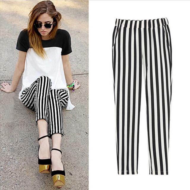 2016 Verão mulher calças harem pants das Mulheres chiffon listrado fino elástico na cintura alta solto mulheres sprots calças Plus Size S-3XL