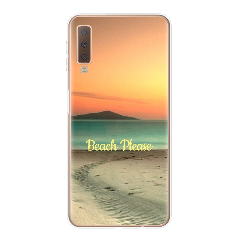 , FUNNYRUI Summer Beach Pattern Soft Silicone Phone Case For Coque Samsung Galaxy A7 2018 A750 A750F 6.0 inch Soft Silicone Cover