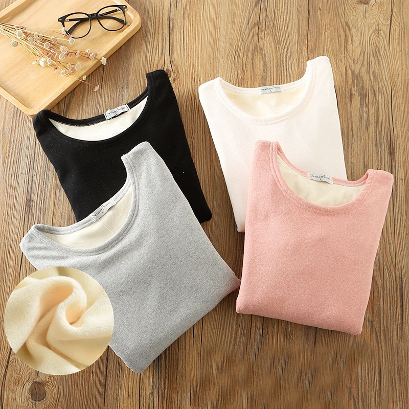 New Autumn Women Winter Bottoming T Shirt Tees Slim Warm Thick Velvet T Shirts Female Long Sleeve Shirt Tops Plus Size 2XL A1561-in T-Shirts from Women's Clothing on AliExpress - 11.11_Double 11_Singles' Day 1