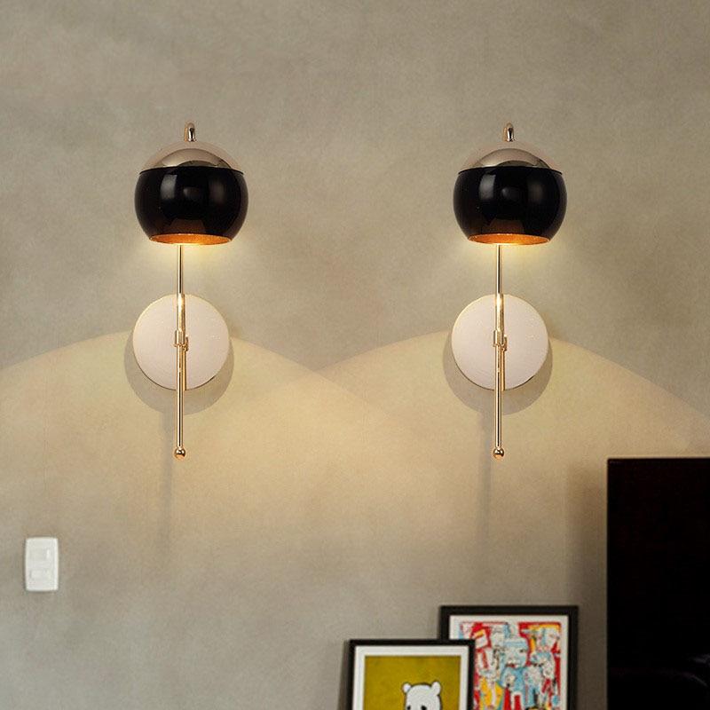 Modern Home Art Black Glass Ball Dining Room Wall Lamp Gold Metal ...