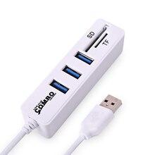 Мини USB Card Reader + Hub USB Combo 480 Мбит USB 2.0 HUB Разветвитель USB Для SD/TF Портативный для ПК Ноутбук Периферия Аксессуары