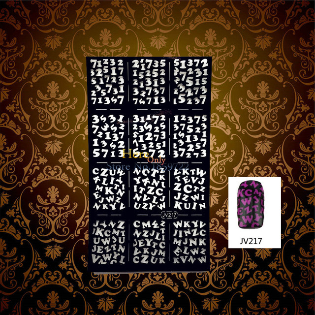 1pc easy use black nail art stencil guide arabic number designs