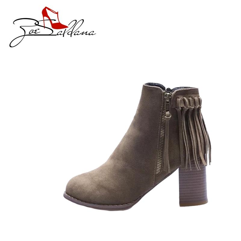 Zoe Saldana 2017 Flock Round Toe Ladies High heels Platform Fringe Zipper Sapatos femininos Shoes Women