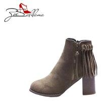 Zoe Saldana 2017 Flock Round Toe Ladies High heels Platform Fringe Zipper Sapatos femininos Shoes Women Boots