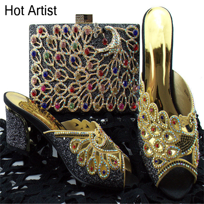 Hot Artist Black color Italian Style Shoes With Matching Bag Set High Quality Fashion Style Pumps Party Shoes And Bag Set BL005 hot artist new italian style shoes and matching bag set fashion african pumps shoes and matching bag sets for party sg16 101