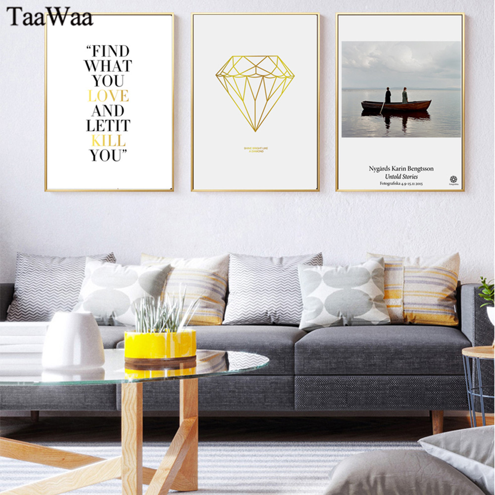 TAAWAA Nordic Canvas Posters Quote Landscape Abstract Painting Minimalist Art Gold Love Wall Picture for Living Room Home Decor