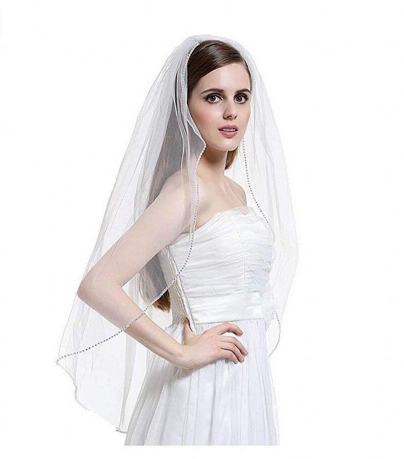 2018 Elegant Short Woman Wedding Veils One Layer 75 CM With Comb White Ivory Veil For Bridal Beaded Edge Tulle Wedding Veil