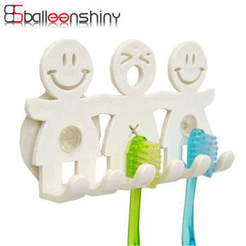 BalleenShiny Cute Cartoon Bathroom Kitchen Smiling Face Toothbrush Towel Storage Rack Sucker Hook Wall Organizer Holder