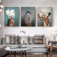 100%handmade Big Size Posters Flowers Feather Women Oil Painting Canvas Wall Pictures for Living Room Home Decoration