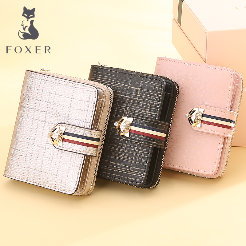 FOXER Short Wallet Limited-Edition High-Quality Women Coin Purse Fashion Brand Split