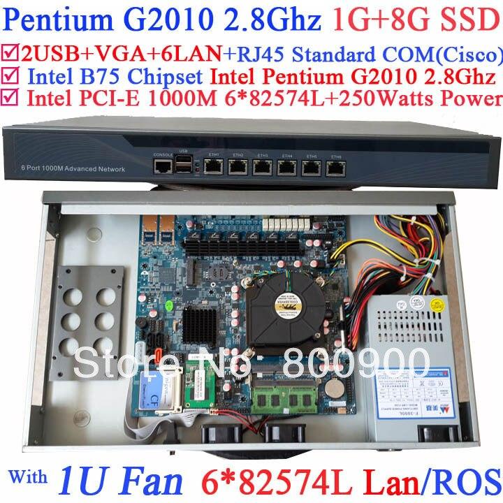 web server 1U network Firewall PC with six intel PCI-E 1000M 82574L LAN Intel Pentium G2010 2.8G Mikrotik ROS etc 1G RAM 8G SSD