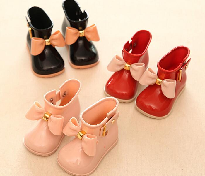 2017 new Child Rubber Boots Jelly Soft Infant Shoe Girl Boots Baby Rain Boots Kids With Bow Girls Children Rain Shoes Bow