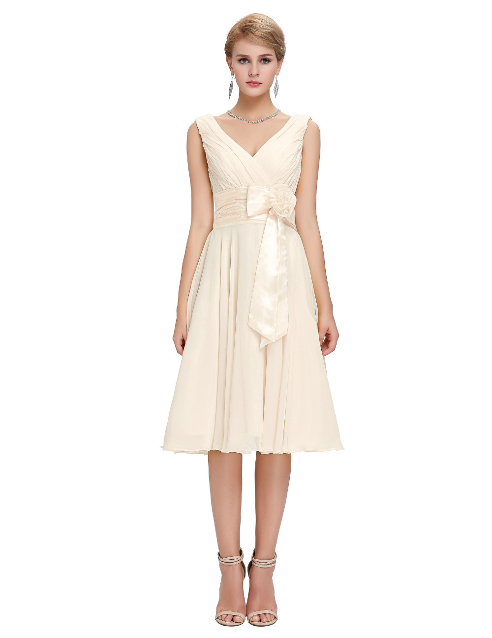Knee Length Short Chiffon Bridesmaid Dress 1