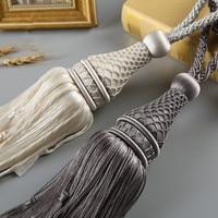 2Pcs/Pair Antique Weave Curtain Tiebacks Tassel Brush Straps Hanging Ball Bind Ropes Belt Curtain Accessory Tie Tape Back Decor