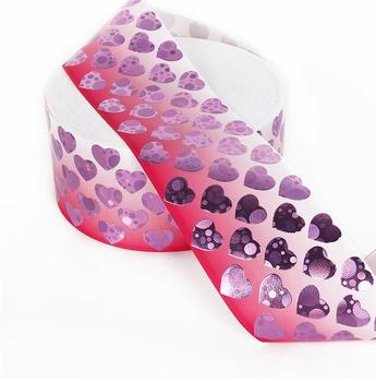50Y Free shipping 75mm Valentine's Day - Seasonal Ribbon Pink Heart Ribbon GLITTER LOVE HEARTS GROSGRAIN RIBBON