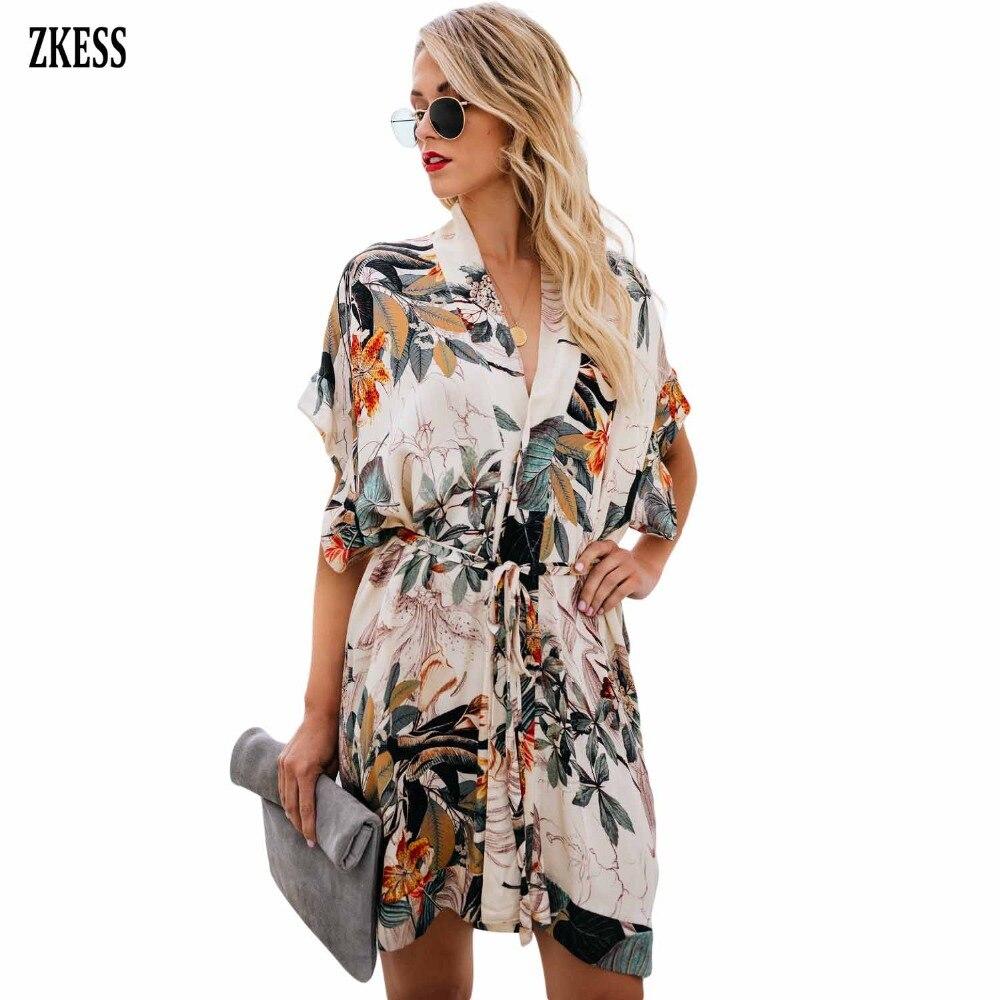04b3ead4ca72 Aliexpress.com : Buy ZKESS Women Multicolor Chrysanthemum Kimono Mini Dress  Fashion Casual V Neck Short Sleeve Print Boho Dress Button Sashes 220638  from ...
