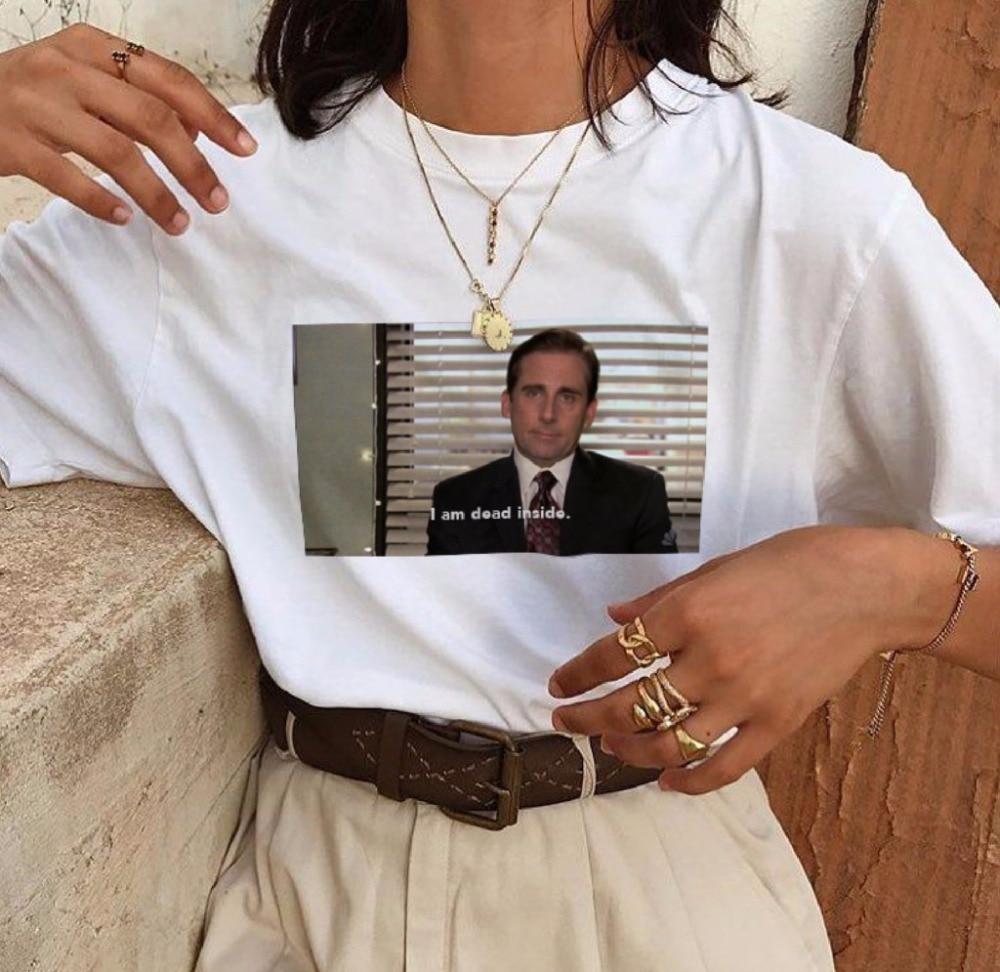 The Office Michael Scott I Am Dead Inside Quotes Tumblr Grunge Funny T-Shirt Unisex Fashion White Tee Cotton Men WOMEN T Shirt