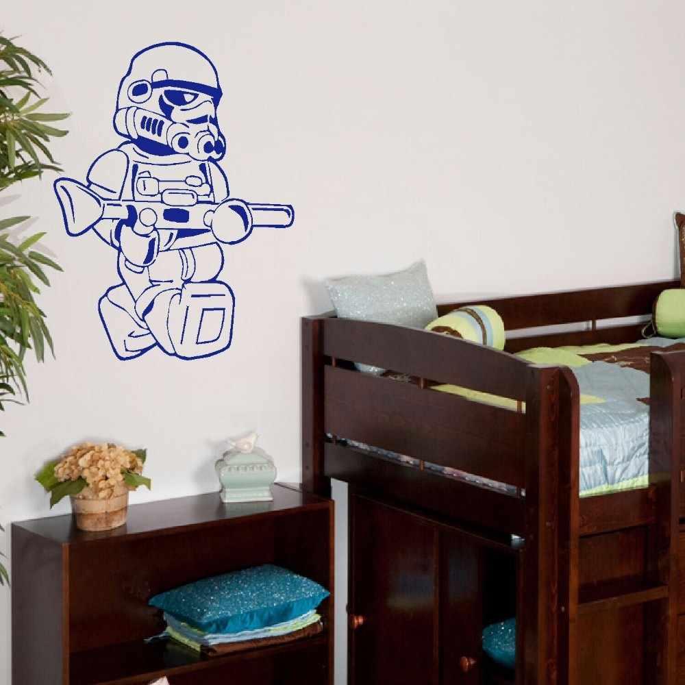 Grande star wars lego uomini storm trooper per i bambini bambini CAMERA DA LETTO WALL ART STICKER VINILE AUTOADESIVO di TRASFERIMENTO DELLA DECALCOMANIA CASA DECOR
