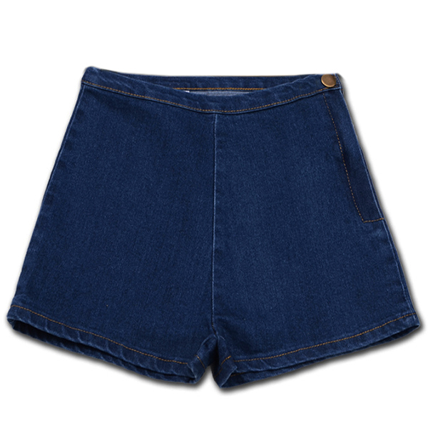 Woman's Summer High Waist Denim Shorts Slim Ripped Skinny Hot Tight A Side Button Pom Jeans Short, Blue XS chic mid waist button design ripped denim shorts for women
