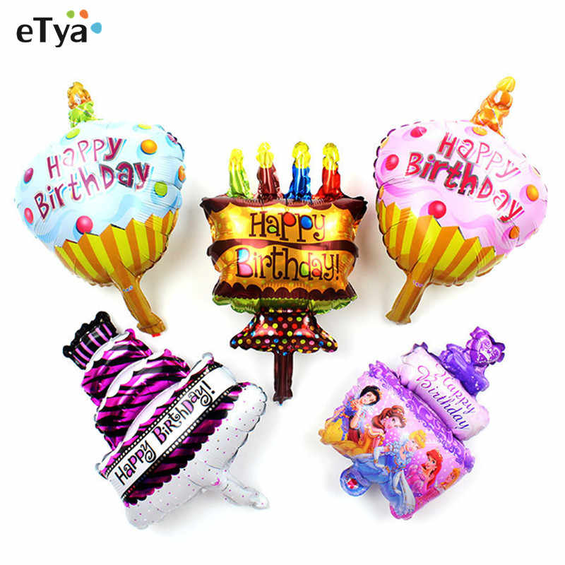 Detail Feedback Questions About 1pc Small Happy Birthday Cake Foil Balloon Chocolate Candle Inflatable Air For Baby Shower Kids Decor
