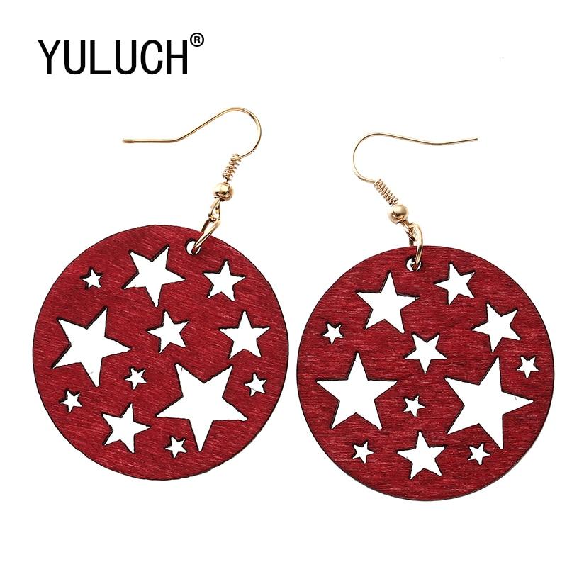 YULUCH 2018 Winter Hollow Stars Big Circle Earrings For Women New Vintage wood Nightclub Earings Jewelry Cute Gift