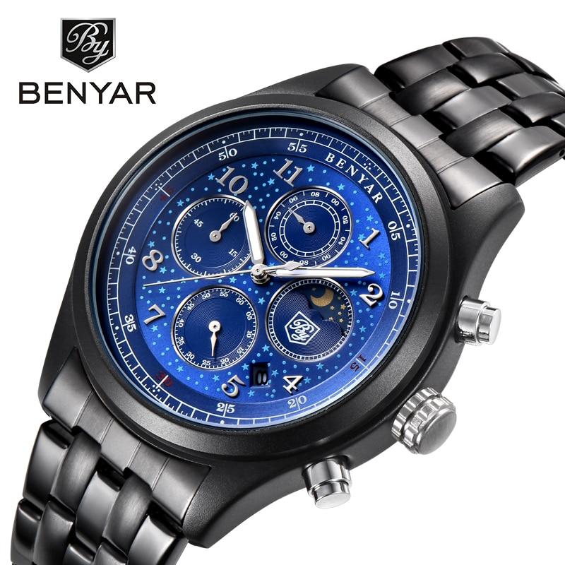 BENYAR Moon Phase Chronograph Watch Men Luxury Waterproof Quartz Top Brand Mens Watches Business Stainless Steel erkek kol saati benyar moon phase chronograph watch men