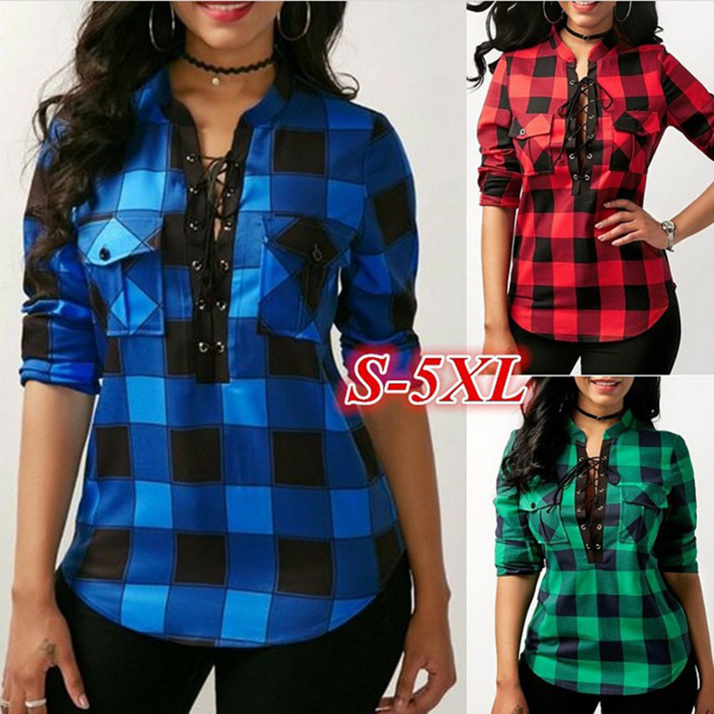 Weweya 5XL Fall Casual Women Plaid Blouse V Neck Low Cut Lace-up Blouses Stand Long Sleeve Pocket Shirt Office Blusas Feminina Блузка