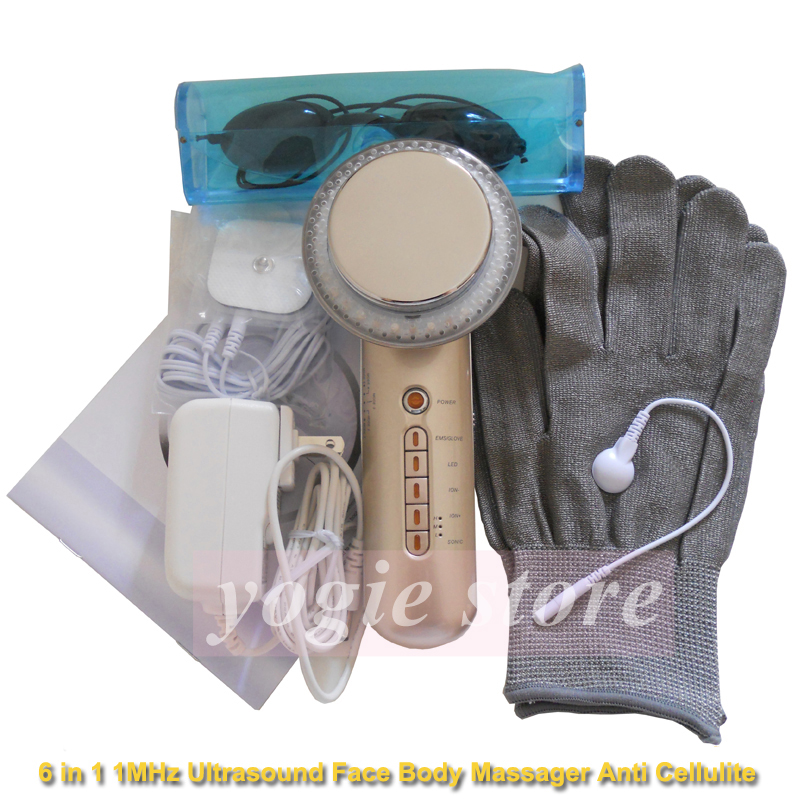6in1 1MHz Ultrasonic Face Massager LED Photon Galvanic Facial Cleaning Skin Care EMS Body Slim Ultrasound Cellulite Fat Burner 3mhz ultrasonic facial massager galvanic deep cleaning led light photon care acne removal skin rejuvenation face lift spa beauty