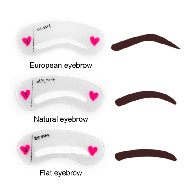 3pcs Pro Reusable Eyebrow Stencil Set Eye Brow DIY Drawing Guide Styling Shaping Grooming Template Card Easy Makeup Beauty Kit 1