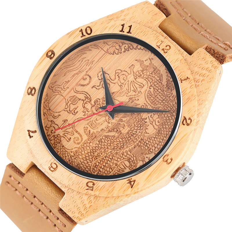 Fashion Men Bamboo Wood Case Casual Brown Genuine Leather Band Strap Trendy Dragon Pattern Wooden Wrist Watch Quartz Analog Male natural bamboo watch men casual watches male analog quartz soft genuine leather strap antique wood wristwatch gift reloje hombre