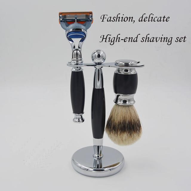 Men's Shaving brush Set silvertip Badger Hair Shaving Brush + Razor + Razor Stand Shaving Holder Male Salon Barber