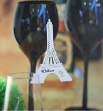 120pcs/lot Wedding Party Decorations Eiffel Tower Shape Wine Glass Markers Cake Toppers Escort Place Card wd124