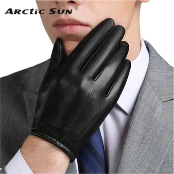 Genuine Leather Men Gloves Autumn Winter Plus Velvet Fashion Trend Elegant Male Leather Glove For Driving NM792B