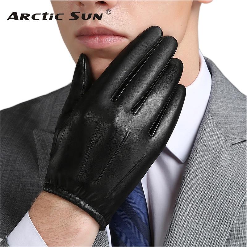 Genuine Leather Men Gloves Autumn Winter Plus Thin Velvet Fashion Trend Elegant Male Leather Glove For Driving NM792B