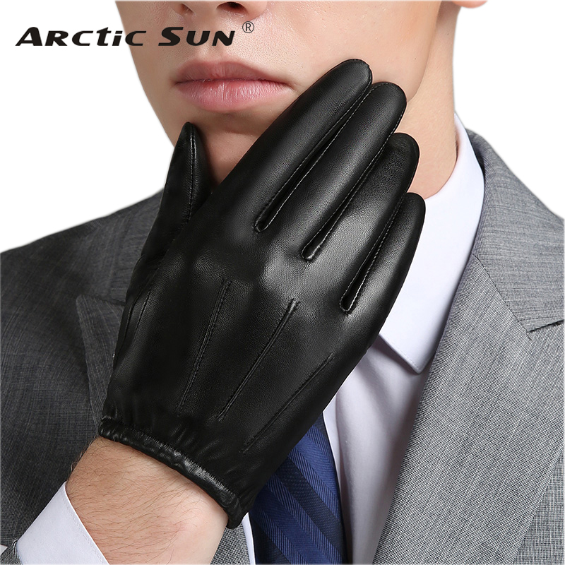 Genuine Leather Men Gloves Autumn Winter Plus Velvet Fashion Trend Elegant Male Leather Glove For Driving NM792B