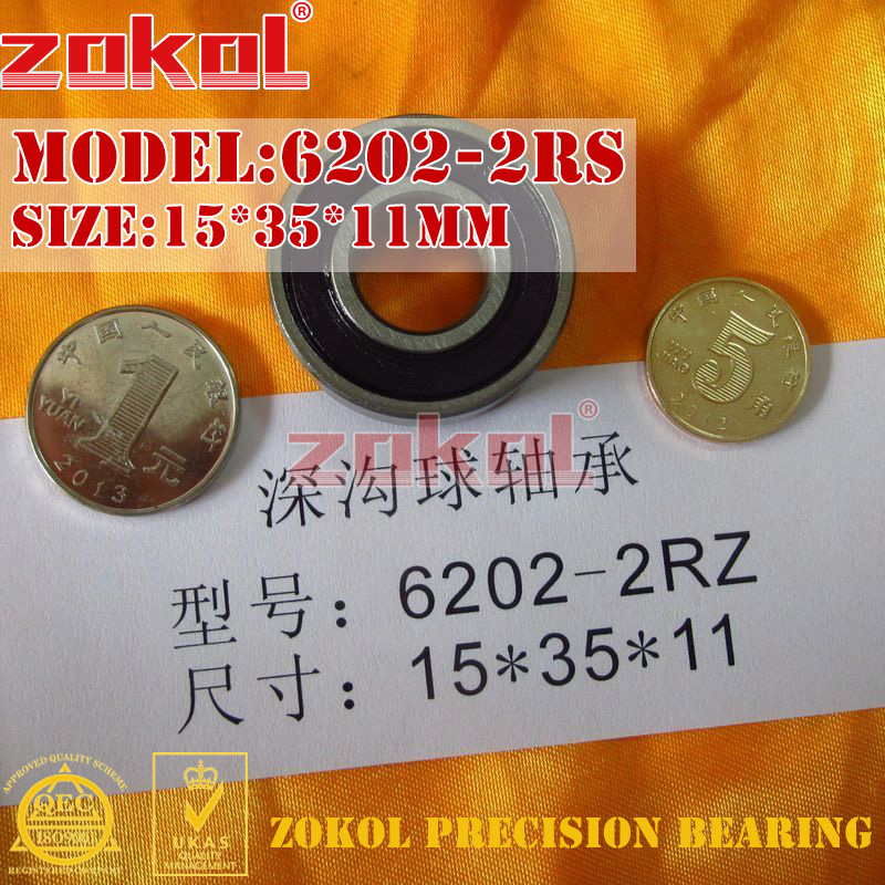 ZOKOL 6202RS bearing 6202 2RS 180202 6202-2RS Deep Groove ball bearing 15*35*11mm zokol 6314 2rs bearing 6314 2rs 180314 deep groove ball bearing 70 150 35mm