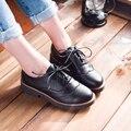 Nueva primavera / otoño moda lace up women de Oxford casual zapatos bajos del talón grueso zapatos de gran tamaño 34-43