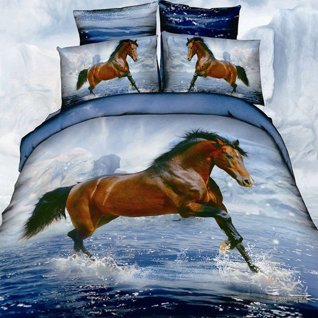 brun noir blanc cheval imprim animal ensemble de literie. Black Bedroom Furniture Sets. Home Design Ideas