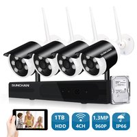 SUNCHAN 4Channel HD 4CH NVR 960P Wireless CCTV System Outdoor Day Night Vision Security Camera Home