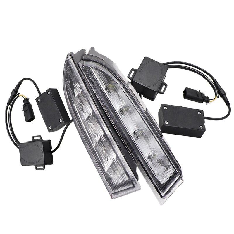 2 pcs Voiture Daytime Running Light Fit Pour Volkswagen R Scirocco 2010-2014 LED DRL avec Jaune Clignotants lampes Lumière Du Jour conduite