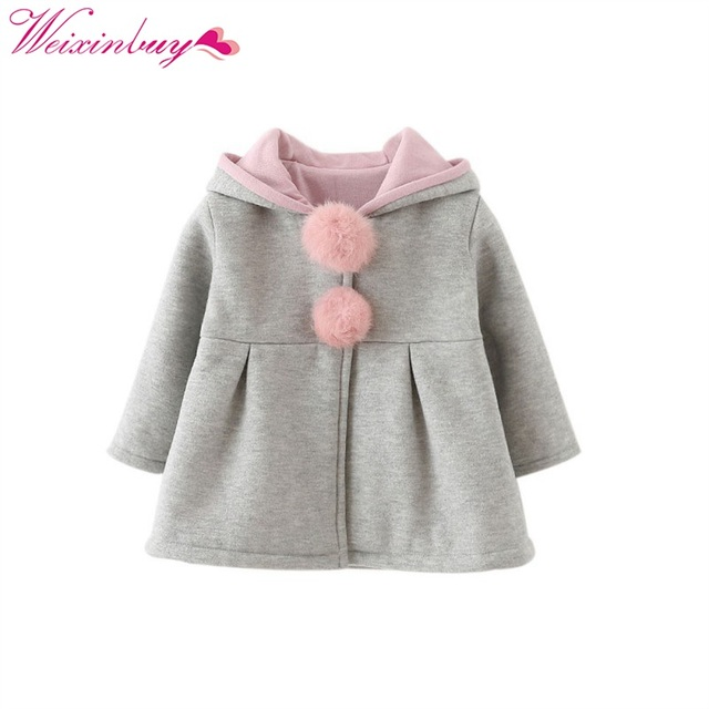 1fd252037afb WEIXINBUY Rabbit Ear Hooded Girls Coat Spring Top Autumn Winter Warm ...