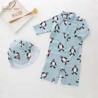 Nyan Cat Summer Baby Boy Swimwear Hat 2pcs Set Penguin Animals Swimming Suit Infant Toddler Kids