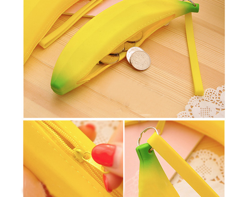 Cute Coin Purse Banana Pencil Case Kawaii Bag Silicone Purse Children's Purses For Kids Yellow Ulrica Coin Bags For Women Funny (5)