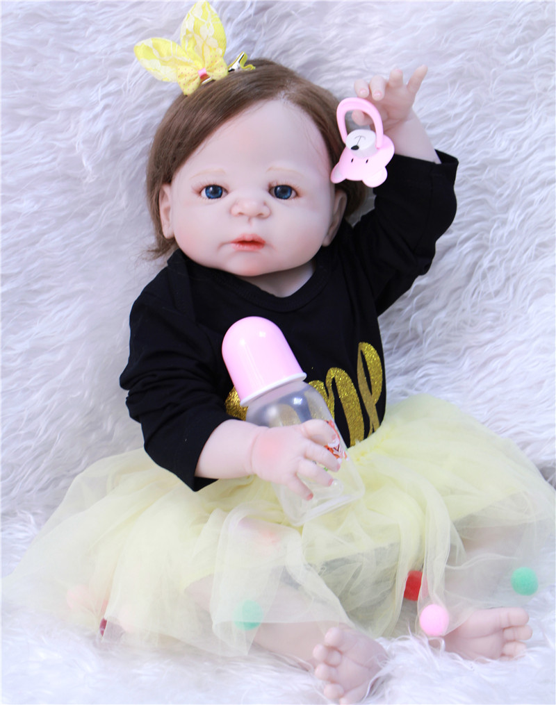 Bebes reborn menina 22 pouces silicone reborn bébé poupées enfants cadeau doux hiar à la recherche de nouveau-nés princesse bonecas jouet 55 CM