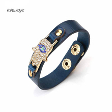 4 Colors PU leather Bracelet Zinc Alloy Evil Eye Hamsa Pendent Bracelet For Men Women Fashion Jewelry 1pc(China)