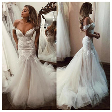 SoDigne Off The Shoulder Appliqued Lace Mermaid Wedding Dresses 2019 Mermaid/Trumpet Train Illusion bridal gown dress White