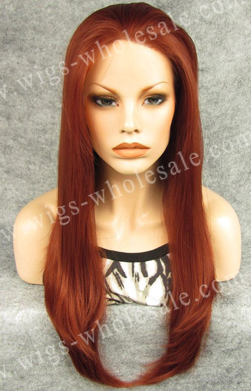 ФОТО Kylie Jenner Long Straight  Auburn Heat Resistant Fiber Synthetic Lace Front Wig Free Shipping