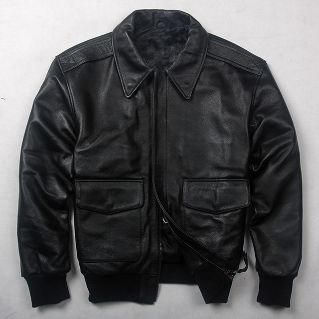 9a5272afcac HARLEY DAMSON Black Men USAF A2 Pilot Leather Jacket Europe Size XXL Winter  Thick Cowhide Military Aviator Leather Coat